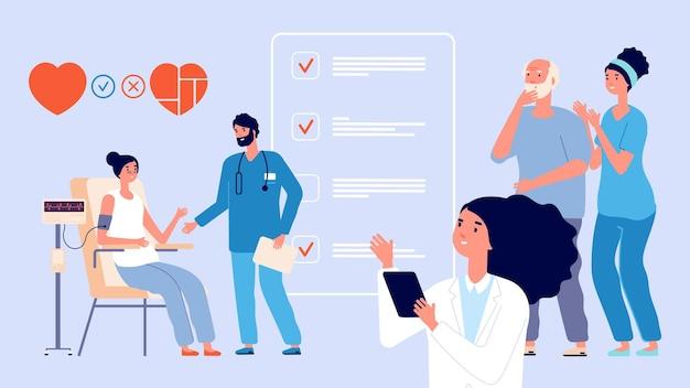 수석 건강 검진. 노인 환자의 건강 관리, 노인의 효과적인 생활 방식. 의사는 성인 여성과 남성과 간호사, 병원 벡터 삽화에서 사람들을 검사합니다. 연금 수급자 건강 검진