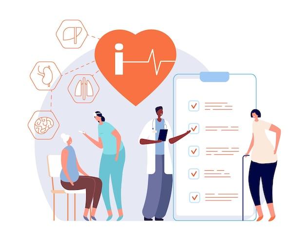고위 건강 검진. 조부모 건강, 사람들이 병원 검진. 의사 노인 환자 건강 지원 벡터 개념입니다. 건강 관리 및 지원 연금, 심장 박동 그림 확인