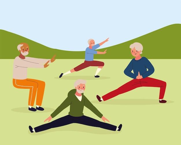 Старшие мужчины занимаются спортом