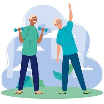 Старшие мужчины упражнениями на открытом воздухе.