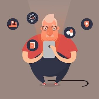 Senior men using a smartphone