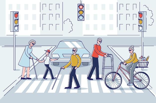Senior men and women walking in city