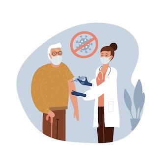 Старший старик у врача в больнице делается прививка. время вакцинации от covid-19.