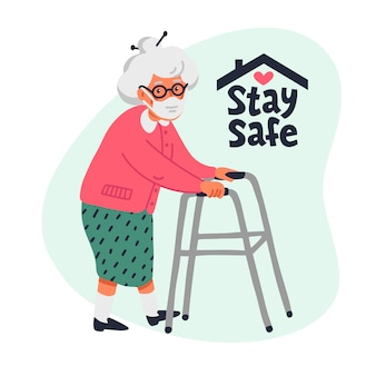 Senior patient protection, stay safe concept.