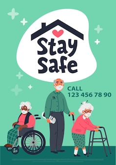 Концепция безопасности для пожилых пациентов Premium векторы