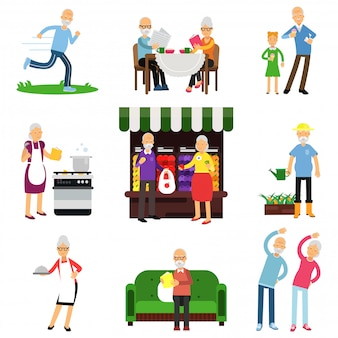 Senior people activities set, elderly man and woman lifestyle colorful   illustrations
