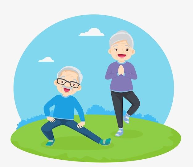 Пожилые люди и гимнастика. пожилая пара.