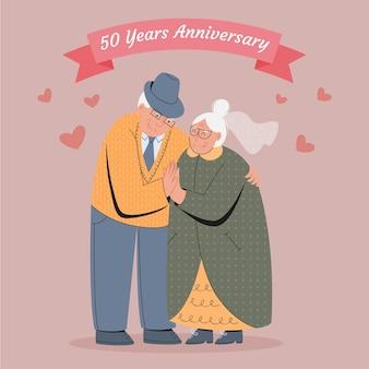 황금 결혼 기념일을 축 하하는 고위 사람들