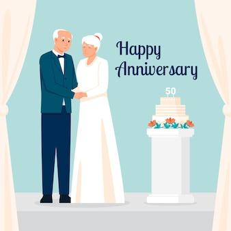 Старшие люди празднуют золотую годовщину свадьбы
