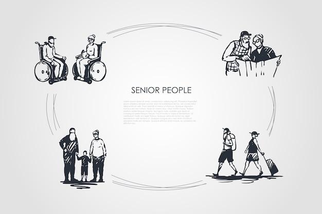 Senior people  concept set illustration