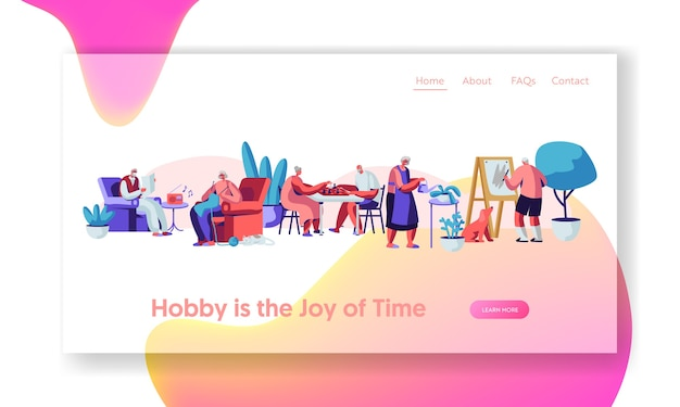 Senior people creative hobby landing page template