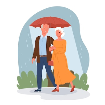 Senior people on date walking together vector illustration. cartoon happy elderly man woman characters with umbrella walk in rain, romantic dating and smiling, lifestyle scene isolated on white