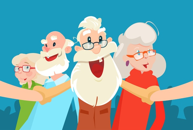 Senior people group grandparents selfie photo