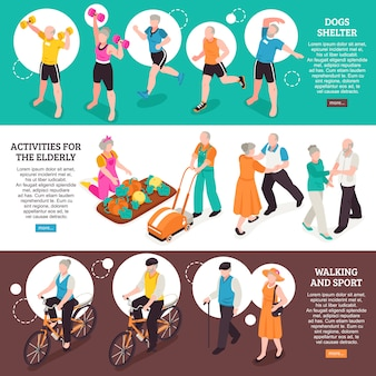 Senior people horizontal banners set with walking and sport symbols isometric isolated
