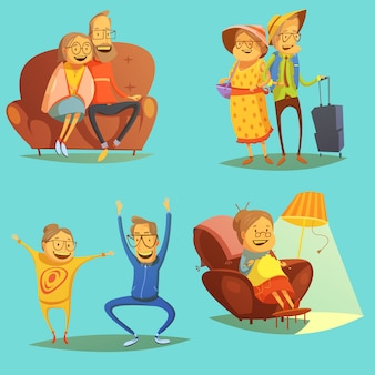 Senior people icons set with pastimes symbols on blue background