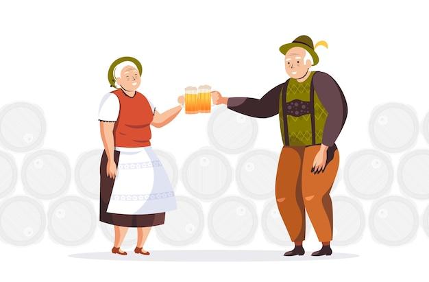 맥주를 마시는 전통 옷을 입고 고위 사람들