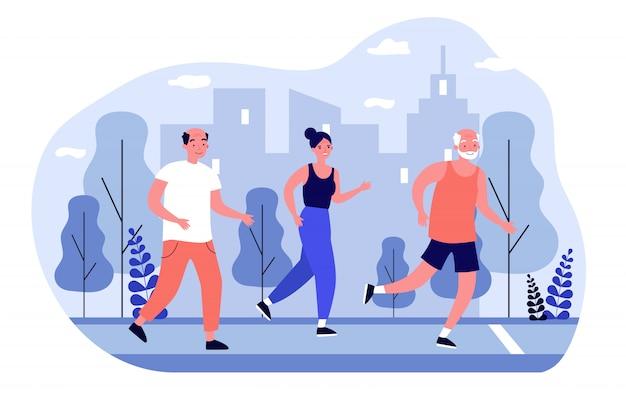 Пожилые люди бегают трусцой в городском парке