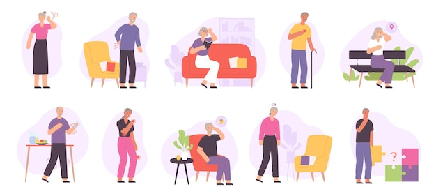 Senior people joint diseases, health problems, alzheimer and dementia. elderly with heart ache, memory, hearing and vision lost vector set. retired characters suffering from illnesses
