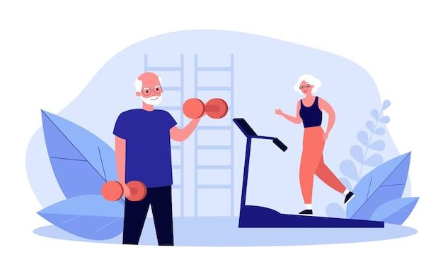 Старшие люди тренируются в тренажерном зале
