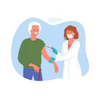 노인 예방 접종.