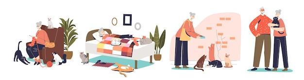 Старшие люди с кошками: счастливая бабушка и дедушка с милыми домашними животными. пенсионный образ жизни и концепция заботы пожилых пенсионеров. плоские векторные иллюстрации шаржа