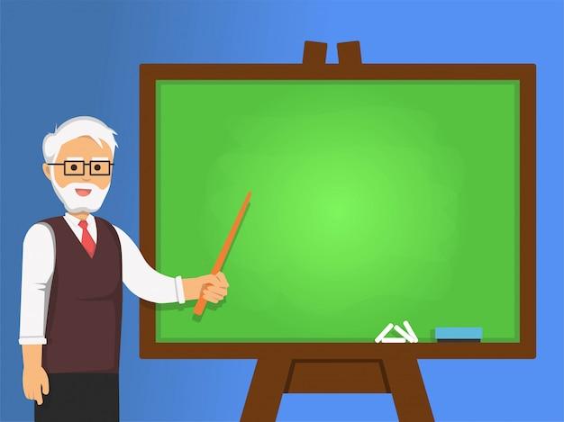 Senior professor pointing at green chalkboard