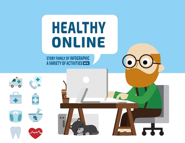 Senior research health online health care concept. infographic elements.