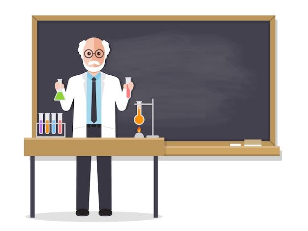 Senior science teacher teaching student in classroom