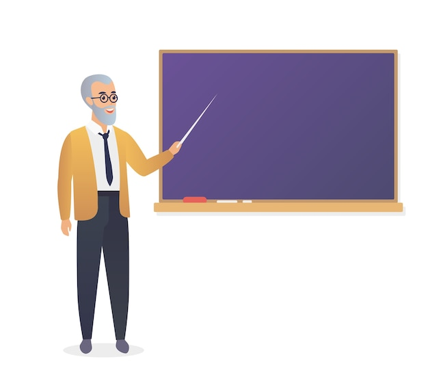 Senior teacher, old man professor standing in front of blackboard in classroom at school, college or university