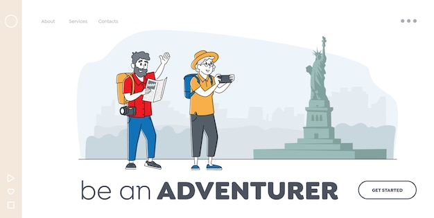 シニアツーリストランディングページテンプレート。地図を見て、旅行で絵を描くキャラクター。外国でカメラと荷物の検索方法を持つ高齢者旅行者。線形