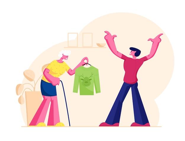순록 머리와 전통적인 니트 스웨터를 제시 걷는 지팡이와 수석 여자 할머니. 만화 평면 그림