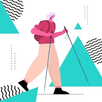 배낭 활성 노년 신체 활동 개념 전체 길이와 함께 여행하는 수석 여성 등산객