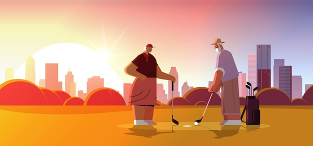 Senior woman man couple playing golf aged family players taking a shot active old age concept cityscape background
