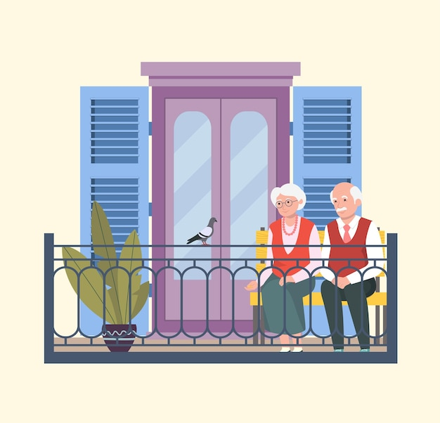 Senior woman and man sitting on bench and feeding pigeons Premium Vector
