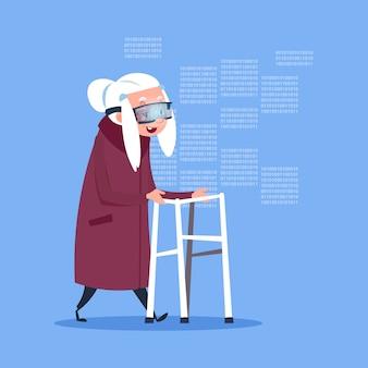 Senior woman wearing 3d virtual glasses modern grandmother full length