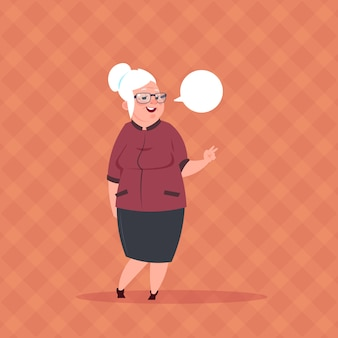 Senior woman with chat bubble modern grandmother full length lady