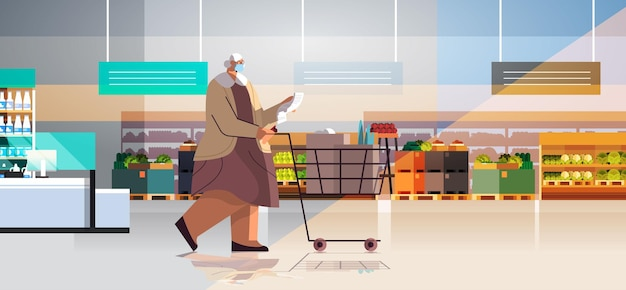 スーパーマーケットの水平方向の完全な長さのベクトル図で買い物リストをチェックする製品トロリーカートでいっぱいの年配の女性