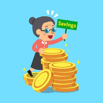 Senior woman with money coins
