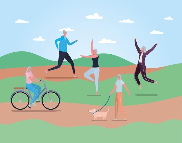 公園のデザイン、野外活動をテーマにしたスポーツウェアと年配の女性の漫画