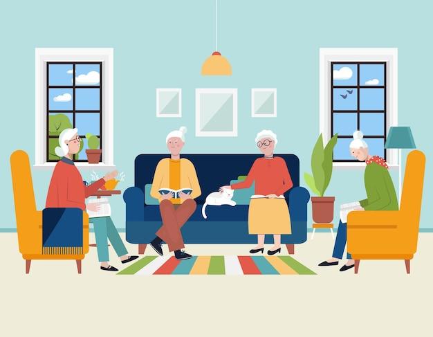 Старшие женщины обсуждают и читают книгу дома книжный клуб для пожилых людей активный образ жизни