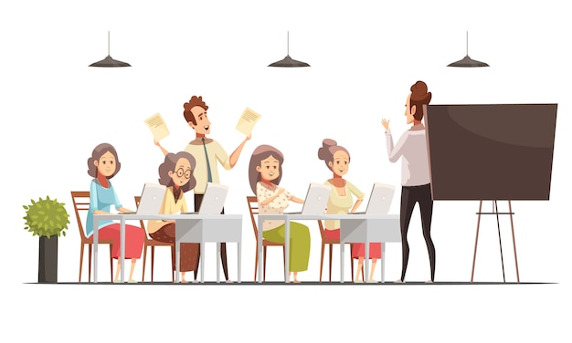 칠판 및 노트북 벡터 일러스트와 함께 노인 복고풍 만화 포스터 노인 여성 그룹 컴퓨터 클래스