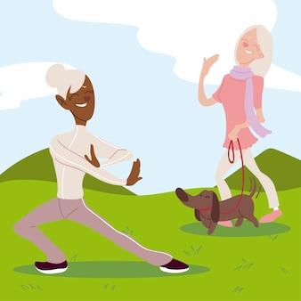 活動的な高齢者、公園でヨガを練習し、犬と一緒に歩く高齢者の女性イラスト