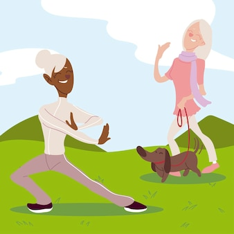 Seniors active, elderly women practicing yoga and walking with dog in the park  illustration