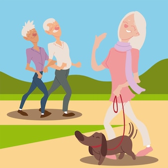 Seniors active, happy old woman with dog and elderly couple walking  illustration