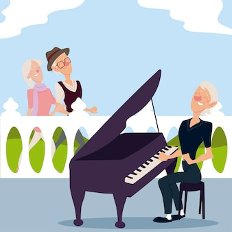 Seniors active, old couple walking and elderly woman playing piano  illustration