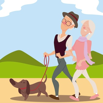 公園のイラストで犬と一緒に歩く高齢者のアクティブな老夫婦