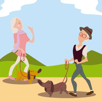 Seniors active, old man and elderly woman walking with dogs  illustration