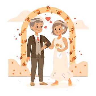 황금 결혼 기념일을 축하하는 노인