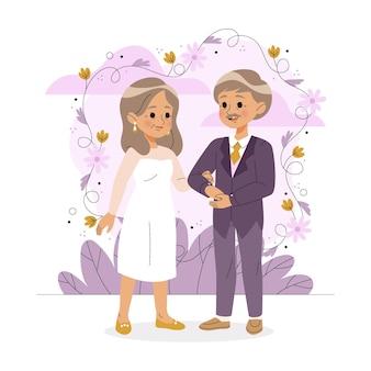 Пожилые люди празднуют золотую годовщину свадьбы