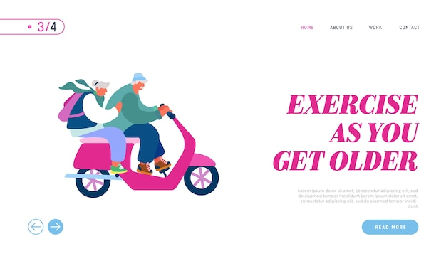 スクーターのウェブサイトのランディングページを運転する高齢者。